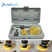 Mainpoint 11Pcs YELLOW DIY Woodworking Hole Saw Drill Bit Kit 19mm 64mm Cutting Wood PVC