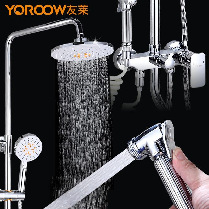 Douche avec cuivre grand gicleur bidet pistolet salle de bain robinet avec pistolet de douche bois haute pression pluie salle de bain étagère