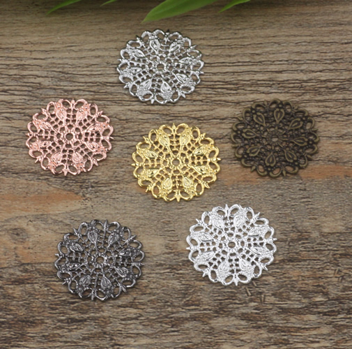 20pcs/lot 25mm Copper Hollow Out Peacock Feather Flowers Filigree Wraps Connectors Charm Findings For Jewelry Making Components