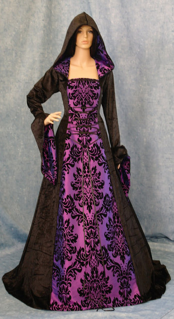 Gothic Dress Meval Renaissance Hooded Gown Scottish Widow Hood Pagan Wiccan Goth