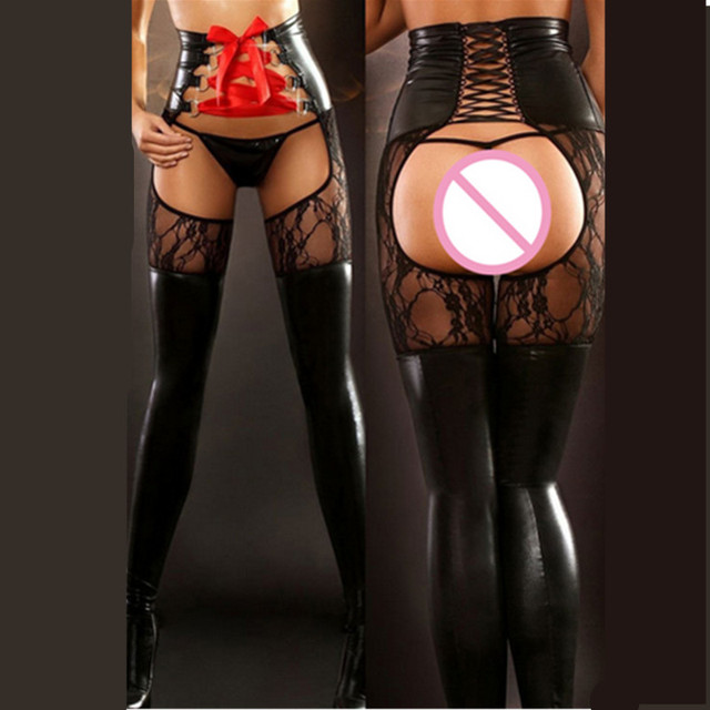 Faux Leather Open Crotch Sexy Lingerie Women Spanking Catsuit Spandex Wet Look Clubwear Leggings Fetish Wear Erotic Costumes