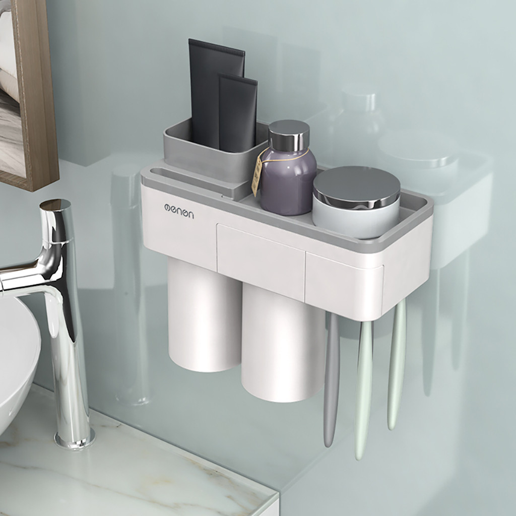 Image 5 - Bathroom Accessories Set Tooth Brush Holder Automatic Toothpaste Dispenser Holder Toothbrush Wall Mount Rack Bathroom Tools G604-in Toothbrush & Toothpaste Holders from Home & Garden