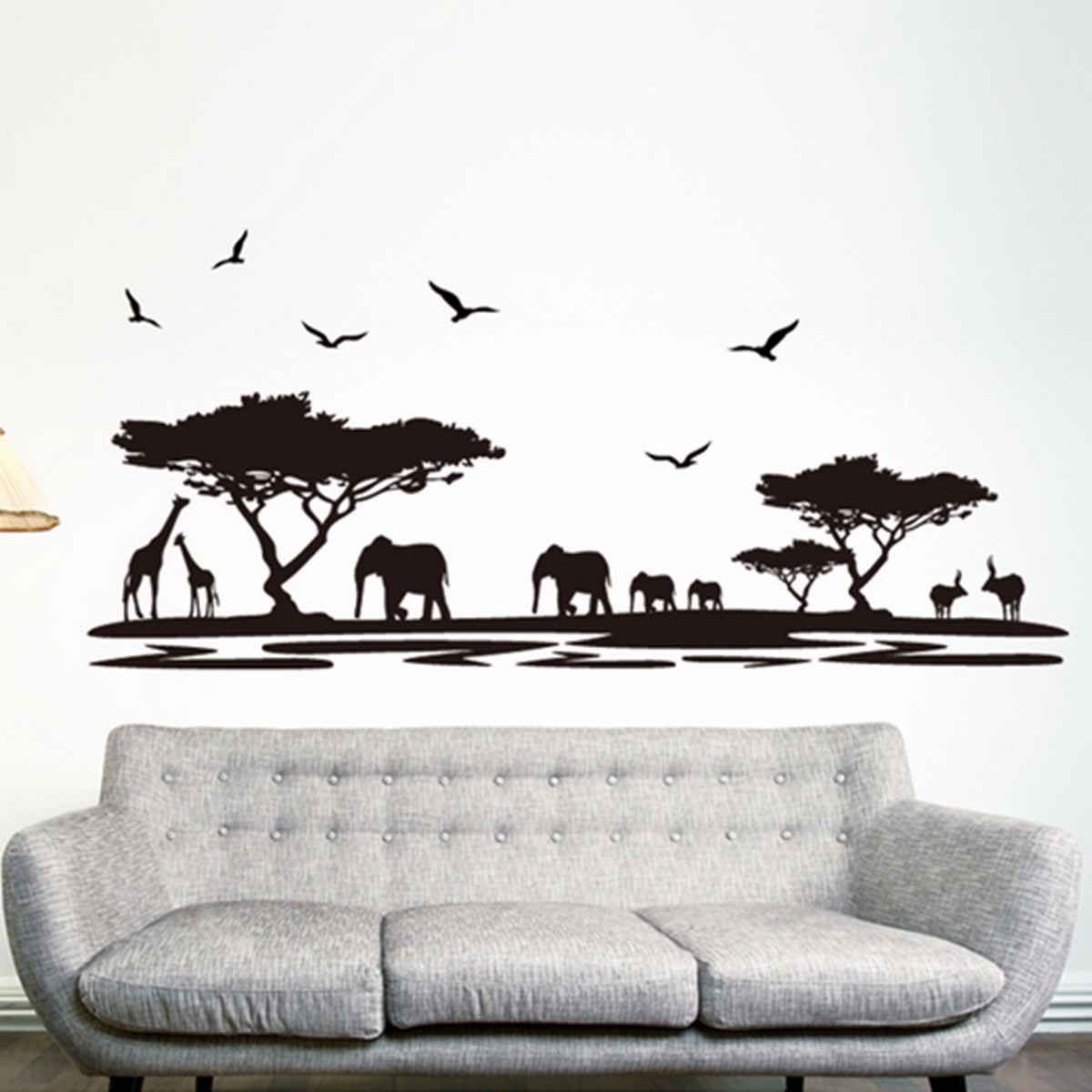 Best Promotion <font><b>African</b></font> Animals Elephant Themed Wall Sticker Mural <font><b>Home</b></font> Decal <font><b>Decor</b></font> Removable Room Decoration