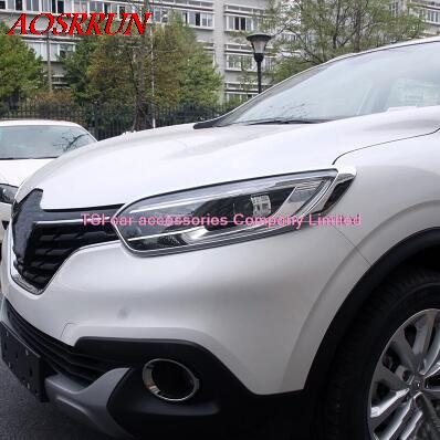 ABS car-styling Chrome Front Headlight Head Light Lamp Cover Trim fit For Renault Kadjar 2015 2016 car accessories automobiles high quality abs chrome side door handle cover trim for renault kadjar 2015 2016 page 1