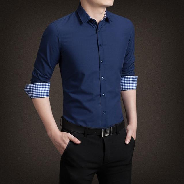 HCXY 2015 New Cotton Plaid Men Shirt luxury Mens Dress Shirts Slim Fit Social Shirt Men Causal Camisas Hombre M-5XL