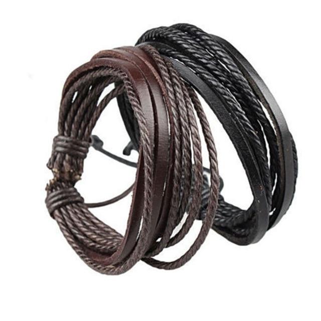 brixini.com - Handmade Punk Weave Vintage Cuff Genuine Leather Bracelets