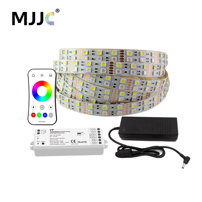 5 M RGBWW RGBW LED bande lumineuse ensemble 12 V DC 5050 120 SMD + 12 volts 10A alimentation + 12 V RF sans fil RGBWW RGBW contrôleur