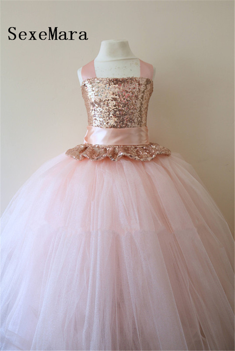 8265348c96ec0 Rose Gold Sequins Flower Girl Dress Blush Pink Puffy Tulle Ball Gown Little  Princess Birthday Party Dress Christmas Gown