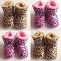 Toddler Newborn Girls Leopard Winter Warm Boots Slip-on Shoes Baby Snow Shoes Winter Warm Plush Fleece Booties 0-12 M