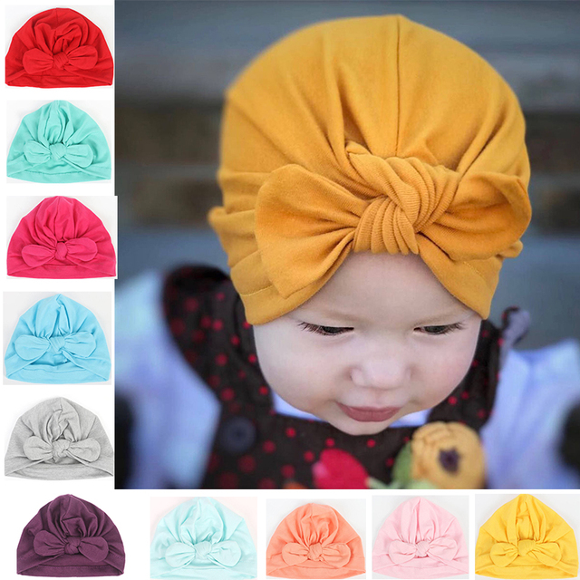 Baby Bow knot Hat Cotton Newborn Bebes Knot Bunny ear Beanie Solid Color Infant  Beanies Kids 947caa6a6b05