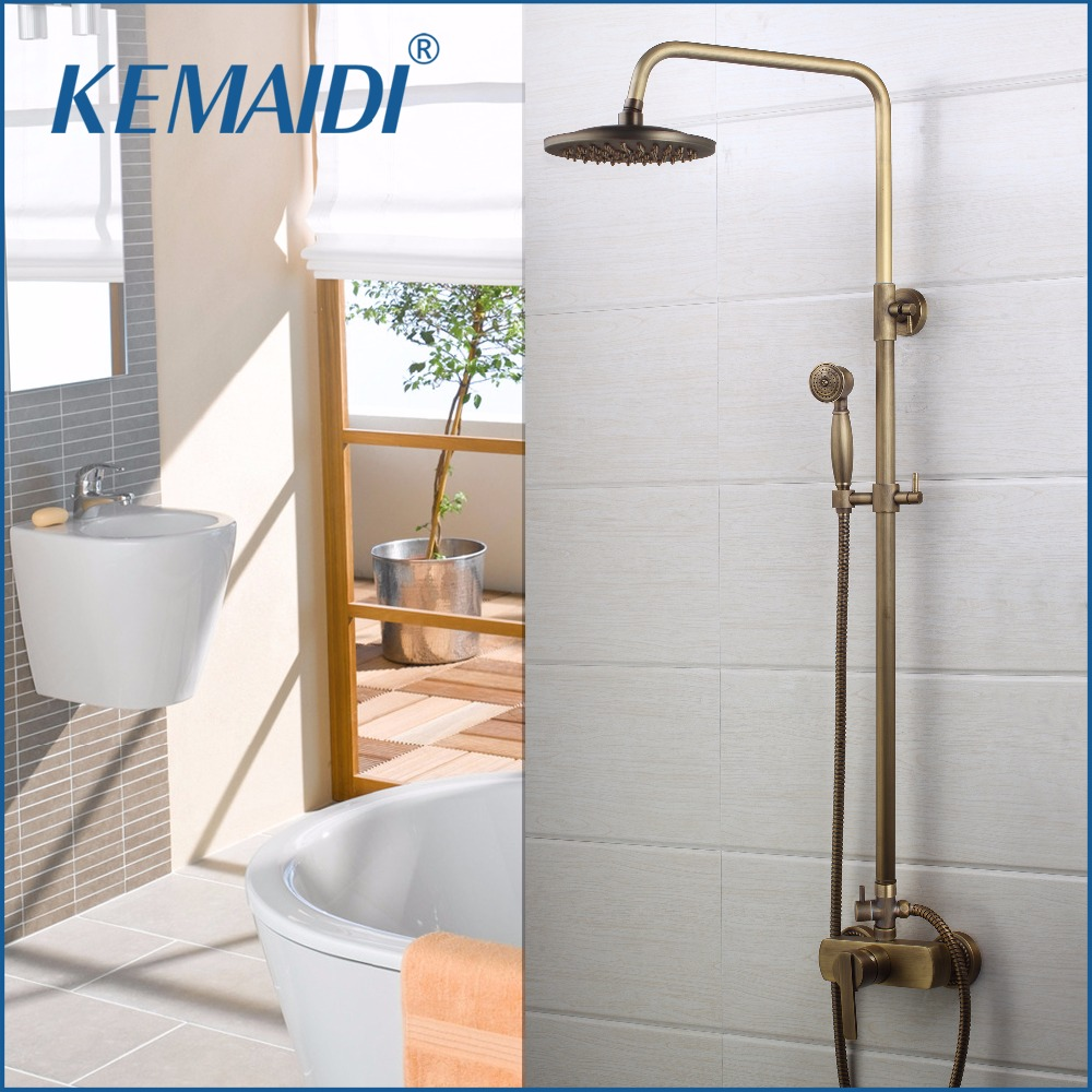 KEMAIDI Wall Mount Shower Set Torneira Bathroom Shower Head With Hand Shower Spray Rainfall Bathtub Chrome Sink Faucet Mixer Tap