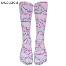 SAMCUSTOM Fashion Knee Socks Women Cotton High Over The Knee Stockings For Ladies Pink Sharks 3D Printing Long Stocking