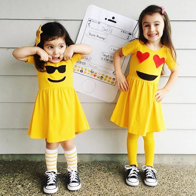 Toddler Infant Kids Baby Girls Dress Emoji Emoticon Smiley Sun Dresses Outfits Photo Photography Prop Outfits 2018 Girl Kids