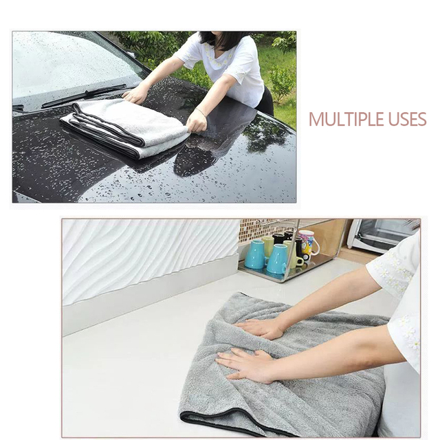 Car Wash Towel Microfiber Cloth Door Window 100x40cm Thick Cleaning Strong Water Absorption For Car Home Automobile Accessories 4