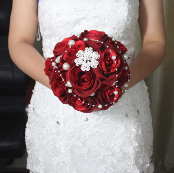 Red Wedding Bouquet Handmade Rose Pearls Diamonds Bride