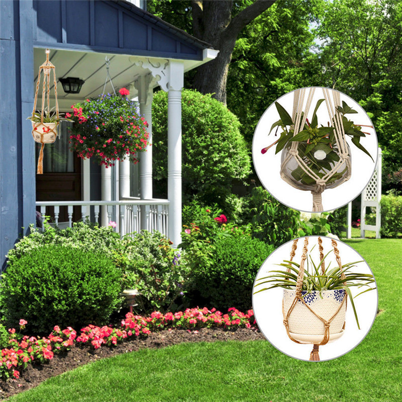 Image 4 - Straw Macrame Plant Hanger Flower Pot Garden Holder Legs Hanging Rope Basket Household Garden Decoration Dropshipping-in Hanging Baskets from Home & Garden
