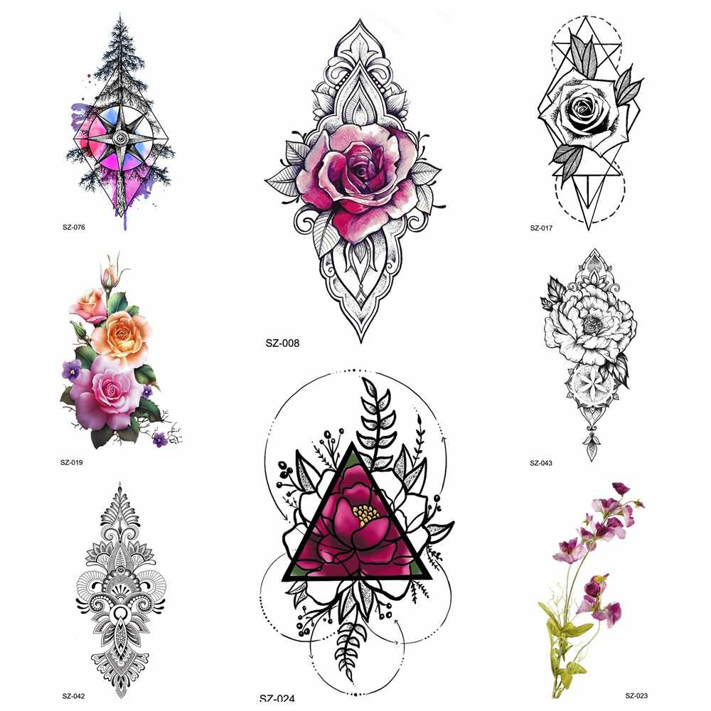 a248b1207b49b Detail Feedback Questions about DIY Rose Flower Watercolor Tattoo Women  Temporary Tattoo Stickers Leaf Flora Girl Lace Waterproof Tatoos Triangle  Body Art ...