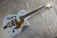 Personalizada de fábrica Branco Gretsch Falcon 6120 Semi Corpo Oco Jazz Coreanos Tuners Guitarra Elétrica Com Bigsby Tremolo