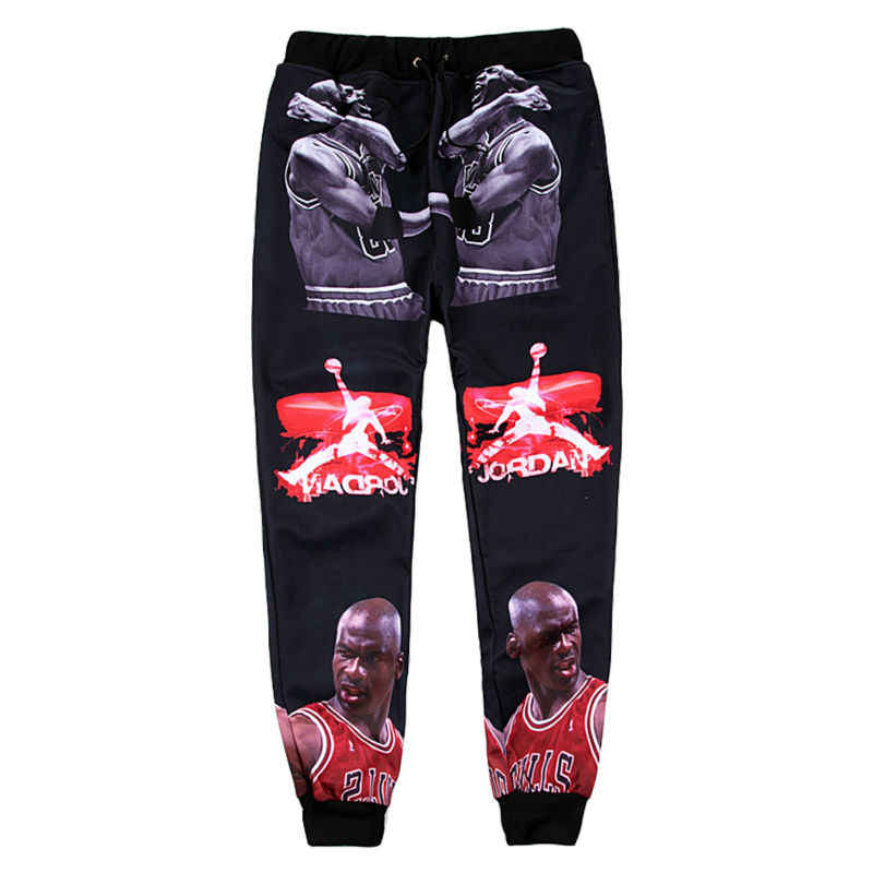 Cool 3D Mens Micheal Jordan Pants Super Star Character Graphic 3D Print Loose Casual Long Trousers Hip Hop Stylish Sweatpants