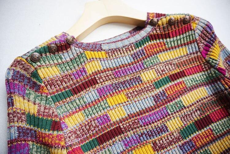 Tricoté Pulls 2018 O Chandail Coloré Designer Multi Plaid Rayé Demi Pour Cou Manches Haute Femmes Qualité Piste wZ6nqFB