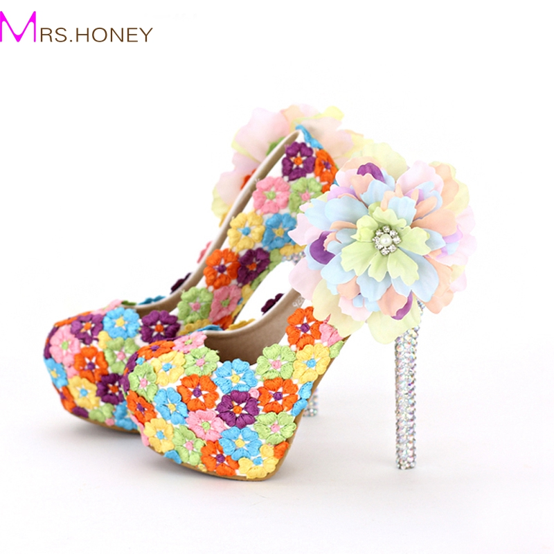ФОТО Colorful Lace Floral High Heels Beautiful Formal Dress Shoes Thin Heel Wedding Bridal Shoes Appliqued Dinner Party Prom Pumps