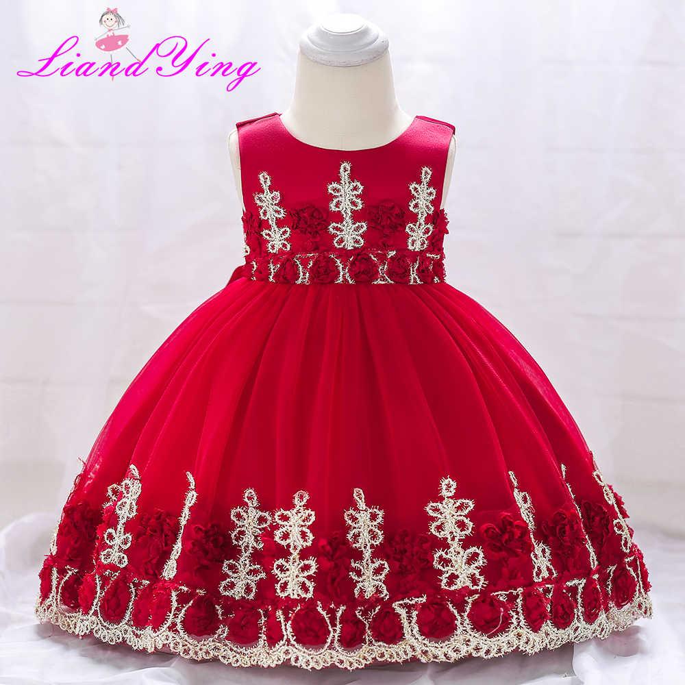 لطيف الطفل فساتين للبنات عيد ميلاد الأحمر اللون الأميرة اللباس ل فتاة المعمودية ثوب الفتيات 1 سنة Vestido Infantil 12 متر