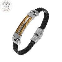 LINSOIR 2017 Titanium Stainless Steel Charm Bracelets For Men New Weave Braided Leather Bracelet Bangle Pulseras