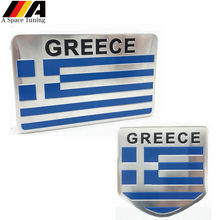 In Lega di alluminio Grecia Bandiera Dell'automobile del Distintivo Dell'emblema Decorazione Parafango Auto Esterno Della Decalcomania Accessori per Yamaha Honda Kawasaki(China)