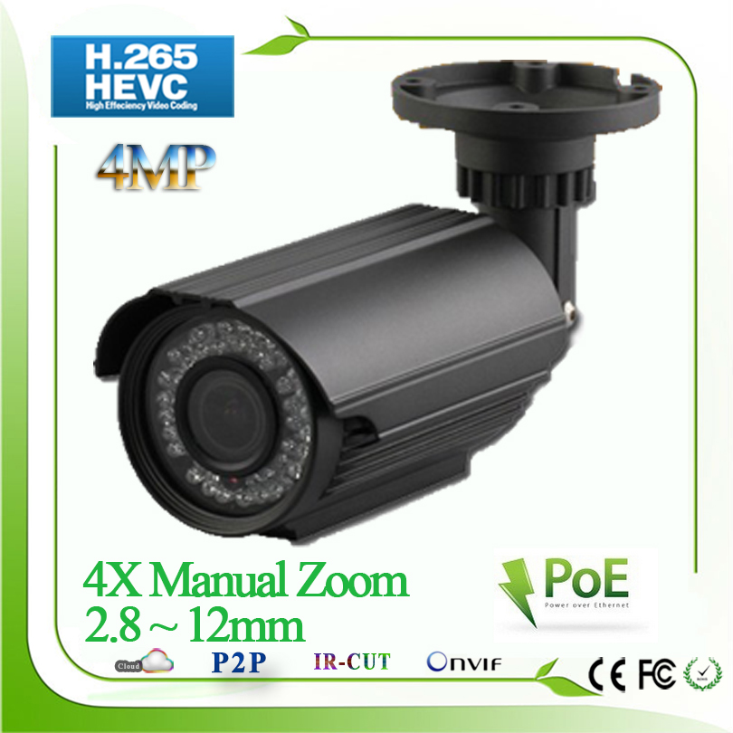 New H.265 960P 2MP 4MP 2592*1520 Camera IP POE CCTV Security camera System 4X 2.8 - 12mm Optical zoom lens camara IP67 Onvif h 265 h 264 960p 1080p 4mp 2592 1520 motorized 2 8 12mm lens bullet network ip camera poe ipcam ip67 waterproof camara cctv