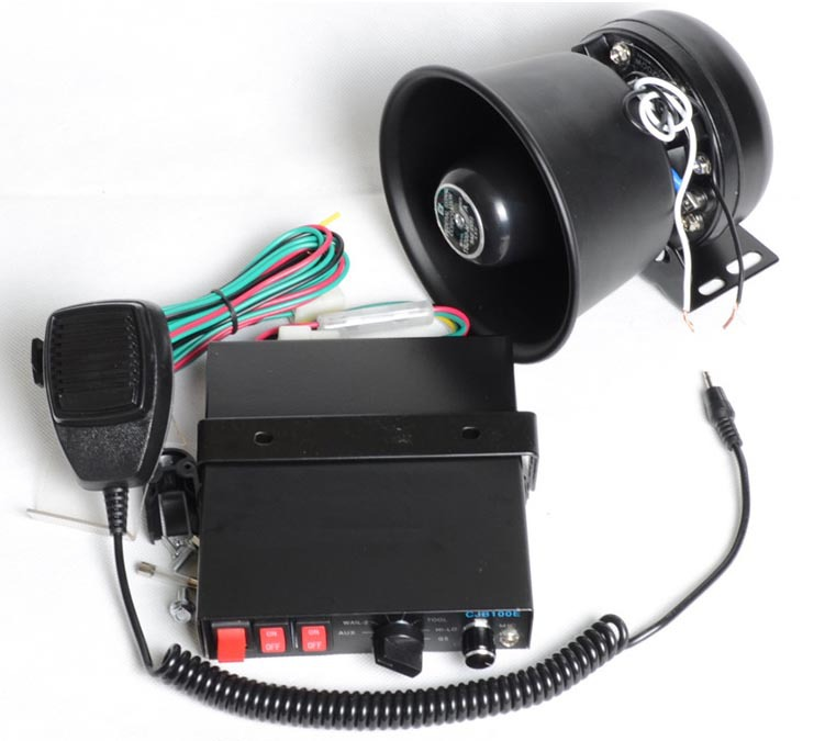 ФОТО 200W Car Alarm Siren 7 Tone Loudspeaker Horn with Round Iron Speaker Police Horn Megaphone Car Styling Buzzer