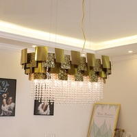 Modern Rectangular crystal chandelier personality creative living room lamp hotel lobby light luxury bedroom restaurant lamp