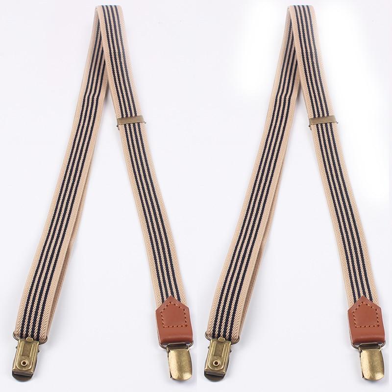 Adult Mens Striped Clip-on Suspenders for Womens Adjustable Braces Belts Suspenders For Vestidos Elastic Belts