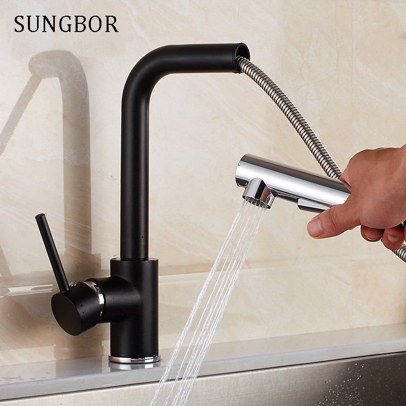 Black Oil Rubbed Kitchen Faucets Pull Out Kitchen Sink Faucet Solid Brass Mixer Single Handle Water Mixer Tap Cold Hot CF-9916H hpb oil rubbed kitchen facuet mixer single cold water kitchen faucet handle brass single handle sink tap wall mounted hp9105b