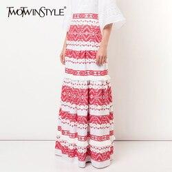 TWOTWINSTYEL Vintage borla falda para las mujeres de cintura alta con Patchwork botón Maxi faldas mujeres 2019 de moda de verano de nuevo