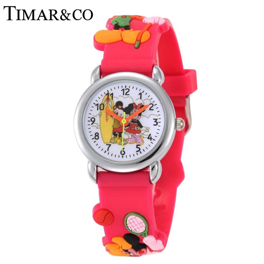 3D Cartoon Watch Children Girls Pink Rubber Band Watches Fashion Girls Student Quartz Clock Women Kids Relojes Relogio Feminino