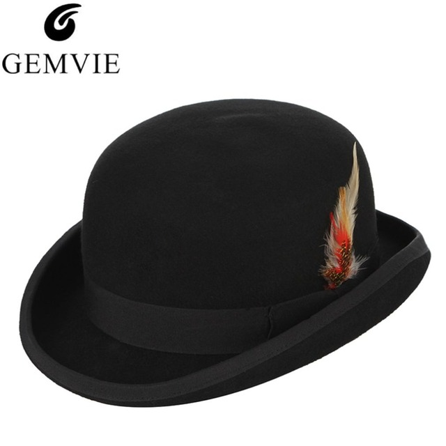 Steampunk Men Fedora Mad Hatter President Magic Magician Top Hat With  Feather Wool Church Hat England Style Jazz Caps 4d5a999eee27