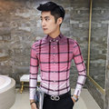 2016 Pink Shirts Mens British Plaid Camisa A Cuadros Hombre Fashion Gradient Slim Fit large plaid Social camisa xadrez Green