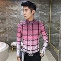 2016 de Color Rosa Camisas Para Hombre Camisa de Tela Escocesa Británica A Cuadros Hombre xadrez camisa Gradiente de Moda Slim Fit Social grande a cuadros Verde