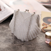 Women messenger beaded women vintage evening bags imitation pearl shell women bag shoulder bags white/black clutch for wedding
