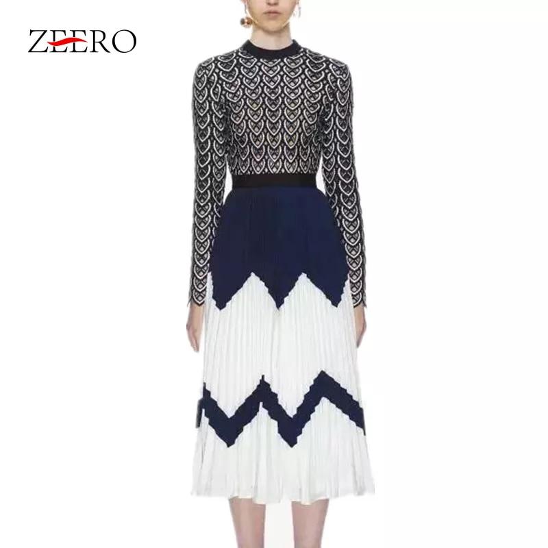 ZEERO Self Portrait Luxury Runway Dress Autumn 2018 Lace Patchwork Vestidos Hollow Out Pattern Midi Pleated