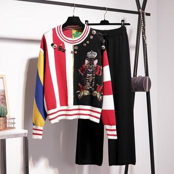 Hot fashion women's sweater pantsuits Chic cat sweaters+wide leg pants two piece set leisure suit G001