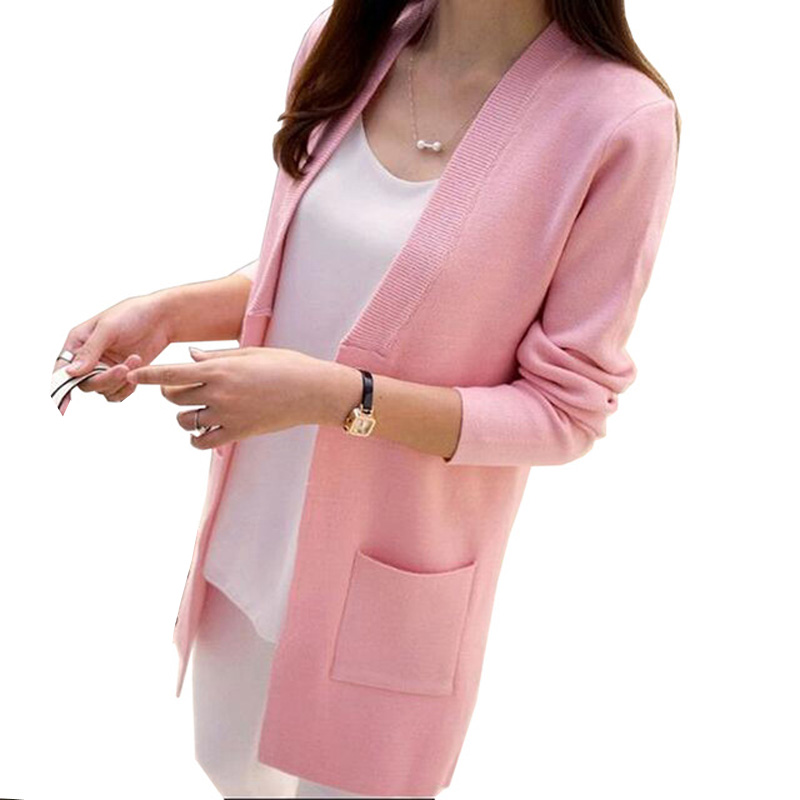 New 2018 Women Autumn Winter Sweater Solid Long Cardigan Slim Pocket Loose Knit Sweater Outwear Coat RE0792