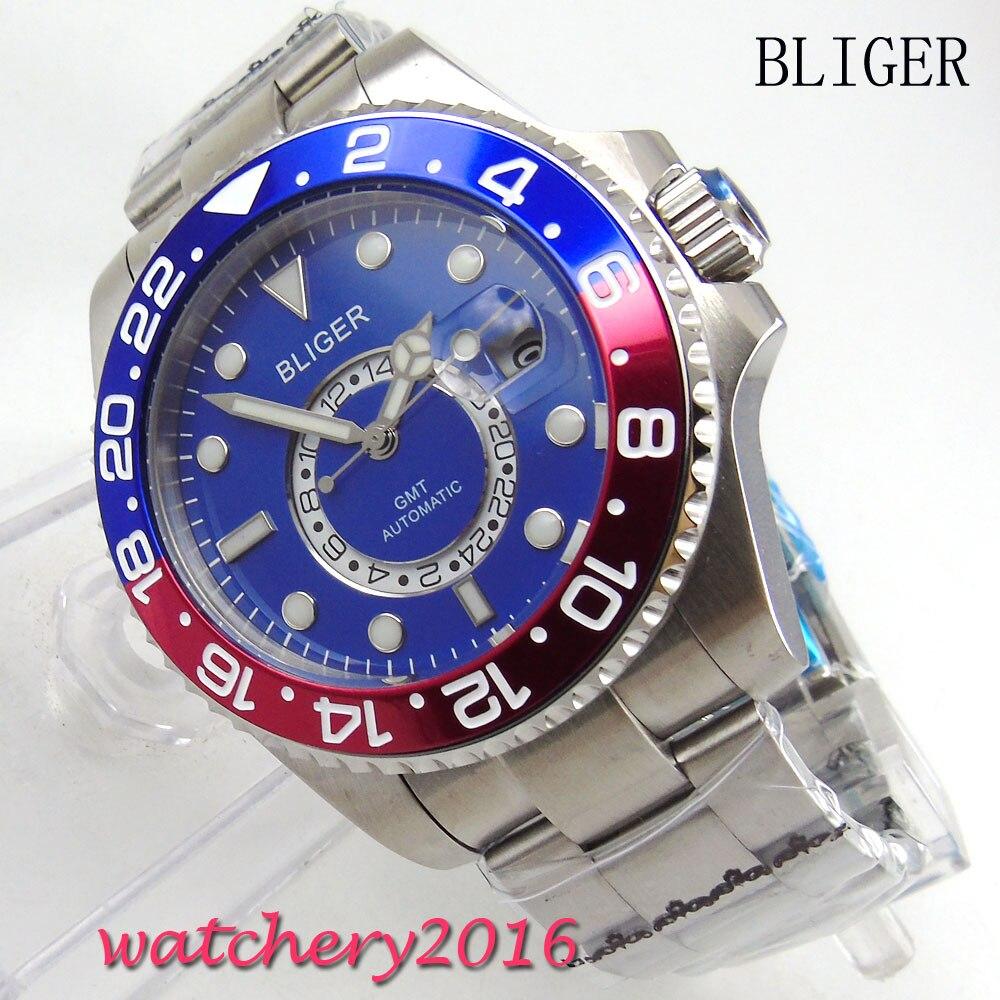 43mm Bliger blue dial Men's Mingzhu Movement Bracelet clasp GMT luminous hands sapphire glass Automatic Mechanical Wristwatches цена