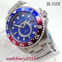 лучшая цена 43mm Bliger blue dial Men's Mingzhu Movement GMT luminous hands sapphire glass Automatic Watch