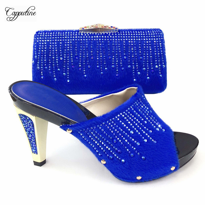 Charming party sets royal blue African sandal shoes and handbag for evening party T2083-3 ,heel height 12cmCharming party sets royal blue African sandal shoes and handbag for evening party T2083-3 ,heel height 12cm