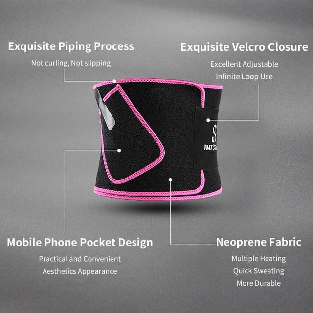 TMT Gym Waist Trimmer Support Belt Fitness Waist Trainer With Phone for Pocket Shaper Slim Weight Loss Sweat Band Lumbar Brace 1