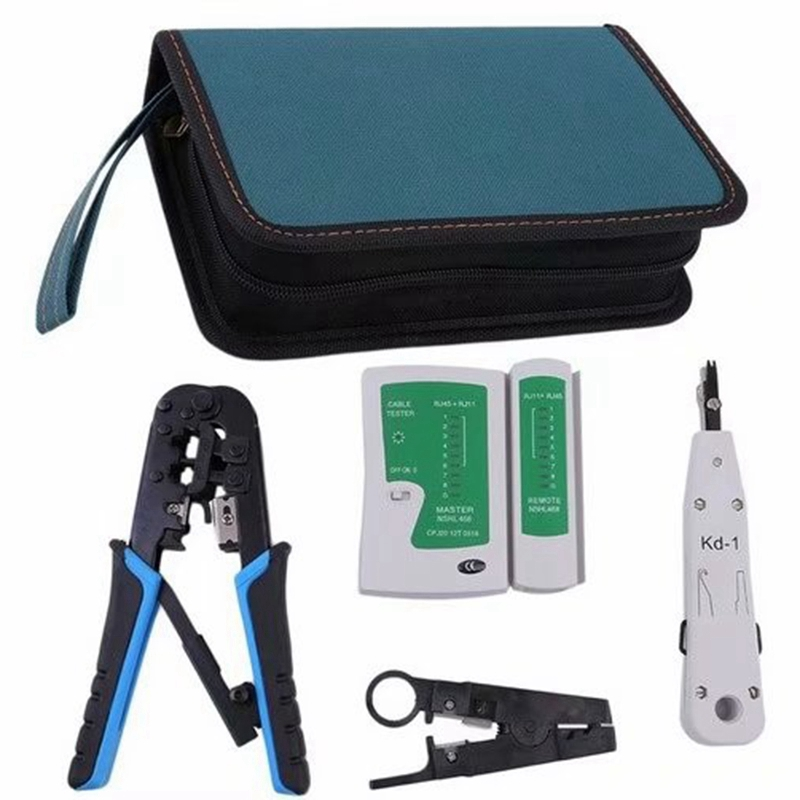 THGS Ethernet Tool Kit 5 Piece Network Ratcheting Crimper Tool,Cable Tester, Punch Down Tool, Wire Stripping Pliers