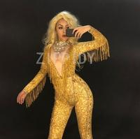 Sparkly Gold Stones Tassel Jumpsuit Rhinestones Sexy Bodysuit Female Singer Evening Stage Wear Women's Birthday Celebrate Outfit