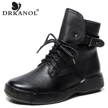 DRKANOL Winter Women Snow Boots Quality Genuine Cow Leather