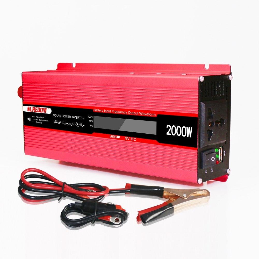 1000 W-2000 W voiture onduleur 50Hz DC12V à AC220V onde sinusoïdale voiture onduleur transformateur LCD affichage USB chargeur convertisseur adaptateur